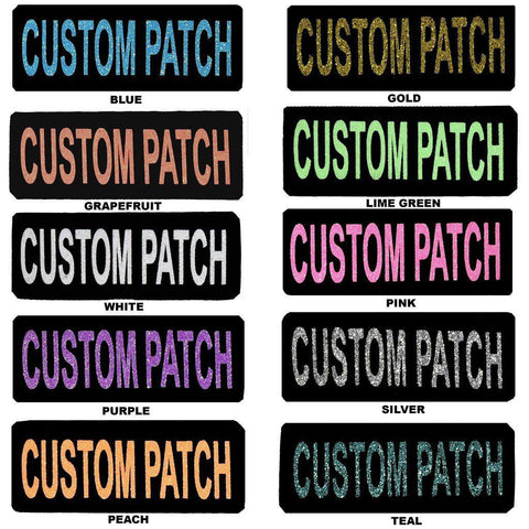 "Dogline Custom Glitter Removable Service Dog Patch-DOG-Dogline-PEACH GLITTER-Size A - 1"" x 2.75""-BLACK-Pets Go Here"