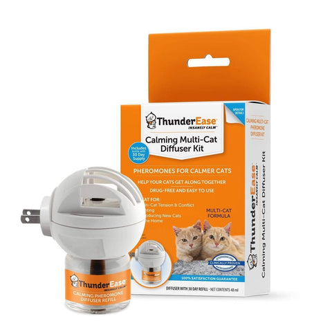 ThunderEase Multicat Calming Pheromone Diffuser Kit anxiety, calming, cat, diffuser, drug-free, kit, pheromones, thunderease Pets Go Here, petsgohere