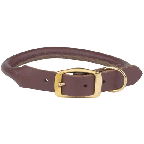 Casual Canine Rolled Leather Dog Collar-DOG-Casual Canine-16-18 In-BROWN-Pets Go Here