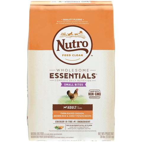 NUTRO WHOLESOME ESSENTIALS Natural Adult Dry Dog Food Small Bites Farm-Raised Chicken, Brown Rice & Sweet Potato Recipe, 30 lb. Bag