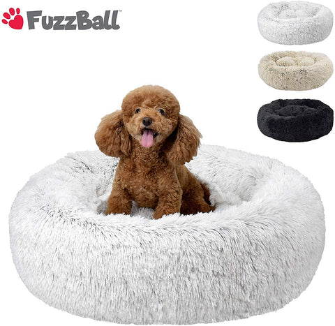 FuzzBall Fluffy Luxe Pet Bed for Dogs & Cats, Anti-Slip, Waterproof Base, Machine Washable