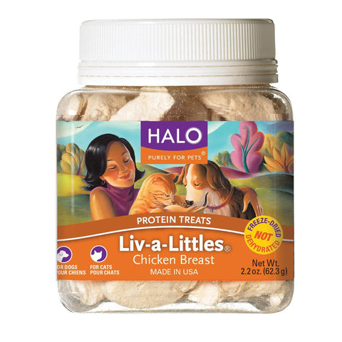 Halo Liv-A-Littles Holistic Freeze Dried Dog Treats and Cat Treats 2.2 oz-CAT-Halo-Pets Go Here cat, cat treat, chicken, freeze-dried, halo, treat Pets Go Here, petsgohere