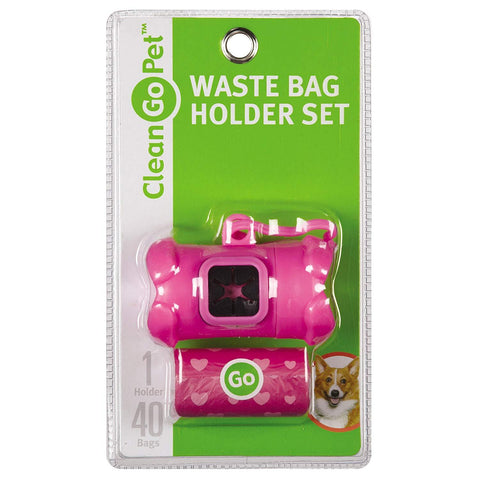 Clean Go Pet Bone Dog Waste Bag Holders, Clip and Two Rolls of Durable, Leakproof Plastic Poop Bags Pink