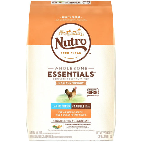 NUTRO WHOLESOME ESSENTIALS Natural Healthy Weight Adult Large Breed Dry Dog Food Farm-Raised Chicken, Rice & Sweet Potato Recipe, 30 lb. Bag