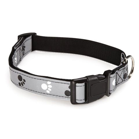 "Casual Canine Pawprint Reflective Dog Collar 14-20""-DOG-Casual Canine-14-20 In-Pets Go Here 10-16 in, 14-20 in, casual canine, collar, dog collar, paw, pet collar, reflective Pets Go Here, petsgohere"