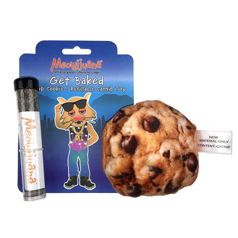 Meowijuana Get Baked Refillable Catnip Cookie Toy - Catnip Included!