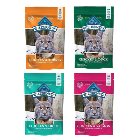 Blue Buffalo Wilderness Soft-Moist Grain Free Cat Treats Variety PACK 4-CAT-Taste of the Wild-Pets Go Here blue, blue buffalo, cat, cat treat, chicken, duck, grain free, salmon, treat, trout, turkey, wet cat food Pets Go Here, petsgohere