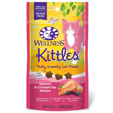 Wellness Kittles Crunchy Natural Grain Free Cat Treats 2 oz Bag-CAT-Wellness-Pets Go Here blue, cat, cat treat, crunchy, grain free, salmon, treat Pets Go Here, petsgohere