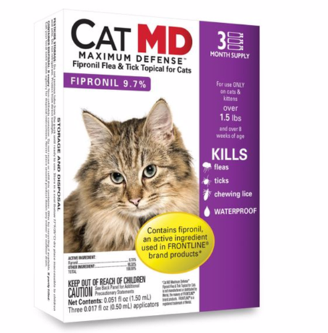 CAT MD Maximum Defense Flea and Tick Treatment for Cats
