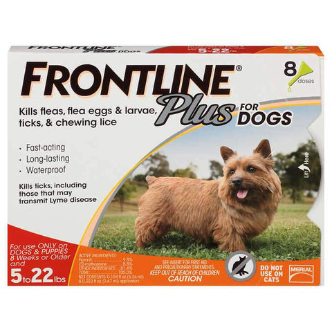 Frontline Plus for Dogs Under 22 LB 12 month, 6 month, adult, flea, frontline, health, lice, merial, pet meds, test, tick, under 22 lb Pets Go Here, petsgohere