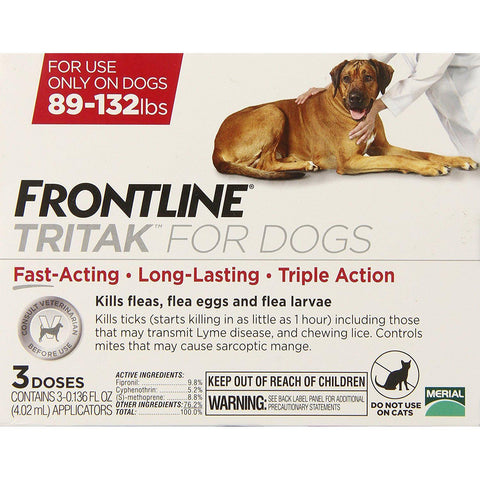 Merial Frontline Tritak Pest Control for Dogs and Puppies, 89 to 132-Pound-Frontline Tritak-Pets Go Here-Pets Go Here flea, flea meds, frontline tritak, tritak Pets Go Here, petsgohere
