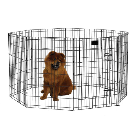 "MidWest Foldable Metal Exercise Pen / Pet Playpen. Black w/ door, 24""W x 36""H"
