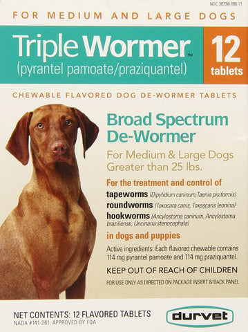 Durvet Triple Wormer for Dogs Puppy/S 12 Chews