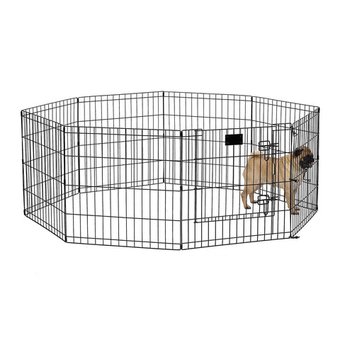 "MidWest Foldable Metal Exercise Pen / Pet Playpen, Black w/ door, 24""W x 24""H"