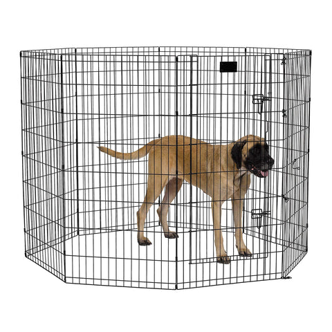 "MidWest Foldable Metal Exercise Pen / Pet Playpen, Black w/ door, 24""W x 48""H"