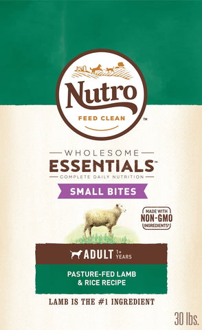 NUTRO WHOLESOME ESSENTIALS Natural Adult Dry Dog Food Small Bites Pasture-Fed Lamb & Rice Recipe, 30 lb. Bag