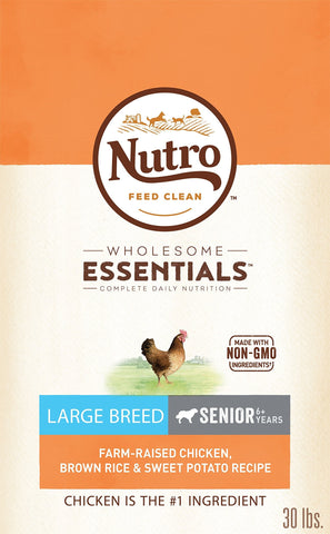 Nutro Natural Senior Large Breed Dry Dog Food Farm-Raised Chicken, Brown Rice & Sweet Potato Recipe, 30 lb. Bag