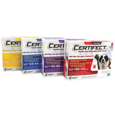Certifect Flea and Tick Treatment for Dogs 1 month, 3 month, 6 month, certifect, flea, flea and tick, tick, topical, treatment Pets Go Here, petsgohere