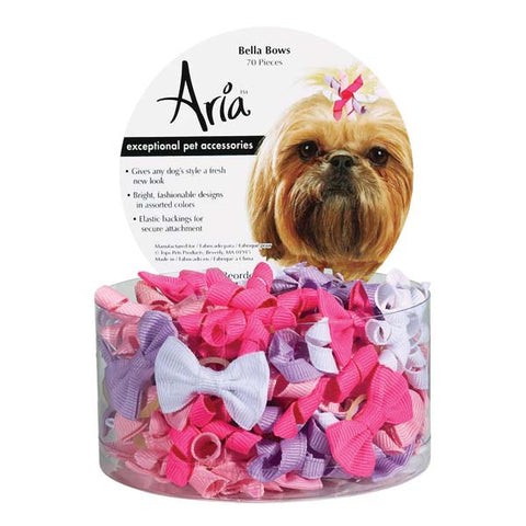 Aria Bella Dog Bow-DOG-Aria-10 PACK-Pets Go Here accessories, aria, bows, elastic, hair tie, lavender, pink, purple, rubber band, white Pets Go Here, petsgohere