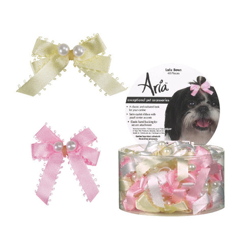 Aria Lulu Dog Bow-DOG-Aria-5 PACK-Pets Go Here 15 pack, 30 pack, 5 pack, accessories, aria, bows, canister, dog bows, elastic, hair tie, pink, rubber band, white, yellow Pets Go Here, petsgohere