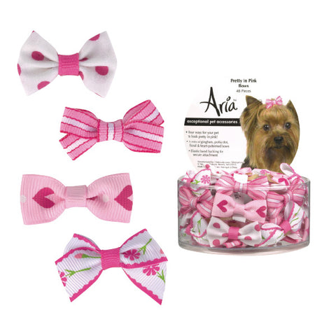 Aria Pretty in Pink Dog Bow-DOG-Aria-CANISTER-Pets Go Here accessories, aria, bows, elastic, hair tie, pink, rubber, rubber band Pets Go Here, petsgohere