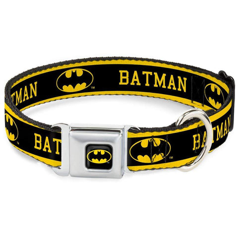 Buckle Down Batman Dog Collar BLACK LOGO STRIPE black, buckle down, cartoon, character, collar, dog collar, fashionable, l, m, movie, new, pet collar, s, seatbelt, test, trendy, tv show, xl, xs, yellow Pets Go Here, petsgohere