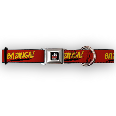 Buckle Down Big Bang Theory Bazinga Dog Collar-DOG-Buckle Down-LARGE-Pets Go Here buckle down, collar, dog collar, fashionable, l, m, movie, new, nylon, pet collar, s, seatbelt, test, trendy, tv show Pets Go Here, petsgohere