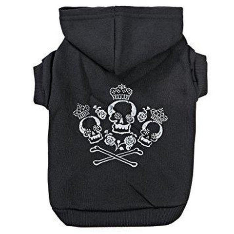 Zack and Zoey Crowned Crossbone Dog Hoodie BLACK-DOG-Zack & Zoey-X-SMALL-Pets Go Here black, brite, cat, clothes, dog clothes, fashionable, fleece, hooded, hoodie, l, m, s, seasonal, shirt, sweatshirt, trendy, xl, xs, zack & zoey Pets Go Here, petsgohere