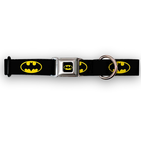 Buckle Down Batman Dog Collar BLACK LOGO black, buckle down, cartoon, character, collar, dog collar, fashionable, l, m, movie, new, pet collar, s, seatbelt, test, trendy, tv show, xl, xs, yellow Pets Go Here, petsgohere