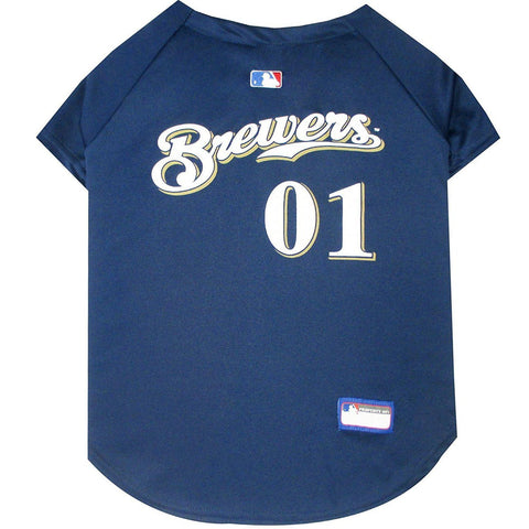 Milwaukee Brewers Dog Jersey-DOG-Pets First-X-SMALL-Pets Go Here jersey, l, m, mlb, mlb jersey, pets first, s, sports, sports jersey, xl, xs Pets Go Here, petsgohere