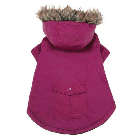 Casual Canine Fur Trim Parka Dog Coat DEEP RASPBERRY-DOG-Casual Canine-XX-SMALL-RASPBERRY-Pets Go Here