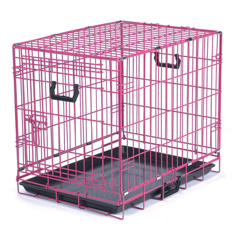 ProSelect Fold-Down Dog Crate in Bright Colors PINK
