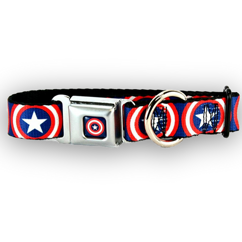 Buckle Down Captain America Shields Dog Collar-DOG-Buckle Down-LARGE-Pets Go Here buckle down, cartoon, character, collar, dog collar, fashionable, l, m, movie, new, nylon, pet collar, s, seatbelt, test, trendy, tv show, xl, xs Pets Go Here, petsgohere