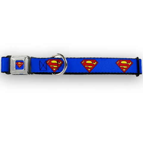 Buckle Down Superman Dog Collar-DOG-Buckle Down-LARGE-Pets Go Here buckle down, cartoon, character, collar, dog collar, fashionable, l, m, movie, new, nylon, pet collar, s, seatbelt, test, trendy, tv show, xl, xs Pets Go Here, petsgohere