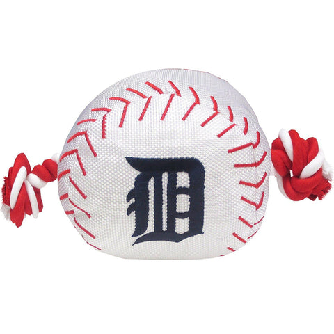 Detroit Tigers Baseball Toy w/ Rope-DOG-Pets First-Pets Go Here mlb, nylon, pets first, sports toy Pets Go Here, petsgohere