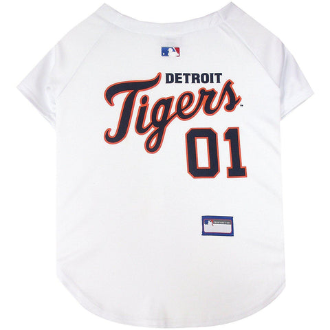 Detroit Tigers Dog Jersey WHITE-DOG-Pets First-X-SMALL-Pets Go Here jersey, l, m, mlb, mlb jersey, patch, pets first, s, sports, sports jersey, white, xl, xs Pets Go Here, petsgohere