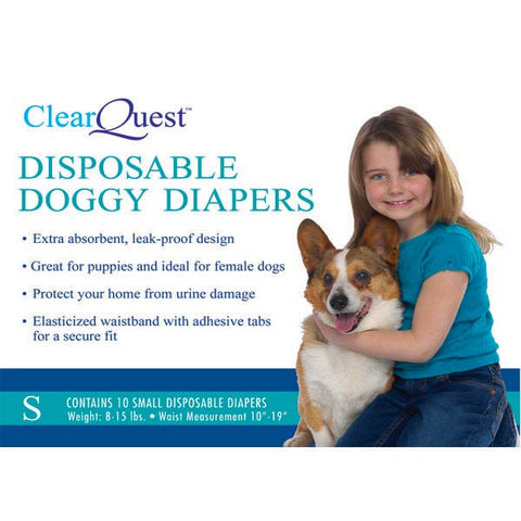 ClearQuest Disposable Doggy Diapers-DOG-ClearQuest-X-SMALL-Pets Go Here clearquest, diapers, l, m, potty pads, puppy, puppy pads, s, xl, xs Pets Go Here, petsgohere