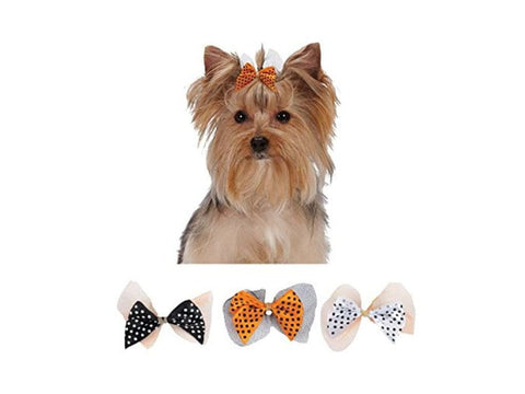 Aria Polka Dot Halloween Dog Bows bows, dog bows, fashionable, halloween, holiday, season, trendy Pets Go Here, petsgohere