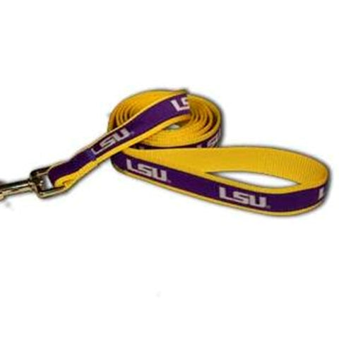 LSU Tigers Embroidered Dog Leash-DOG-Sporty K9-Pets Go Here ncaa, nylon, pets first, sports, sports collar Pets Go Here, petsgohere