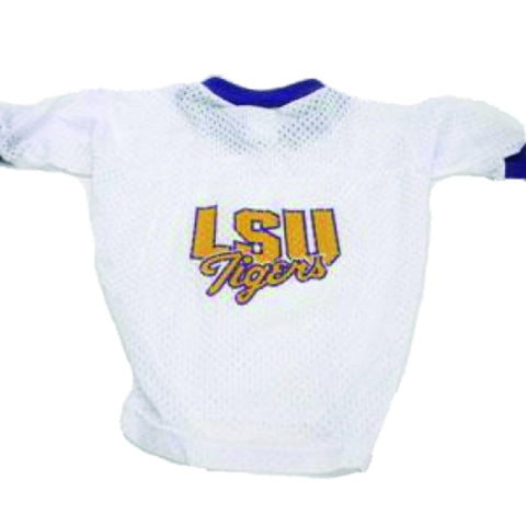 NCAA LSU Tigers Dog Jersey WHITE LARGE dog, jersey, ncaa, ncaa jersey, sports, sports jersey, white Pets Go Here, petsgohere