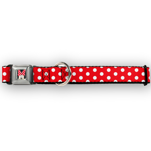 Buckle Down Disney Minnie Mouse Polka Dot RED & WHITE Dog Collar-DOG-Buckle Down-SMALL-Pets Go Here buckle down, cartoon, character, collar, disney, dog, dog collar, fashionable, l, m, movie, new, nylon, pet collar, red, s, seatbelt, trendy, tv show, white, xl, xs Pets Go Here, petsgohere