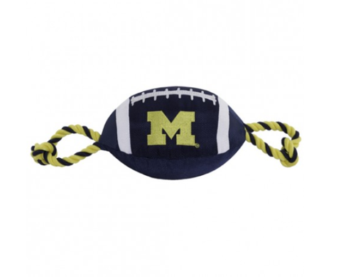 NCAA Michigan Wolverines Nylon Football Dog Toy doggienation, ds, pets first, sports, sports toys Pets Go Here, petsgohere