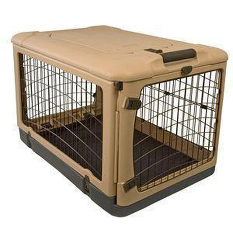 Pet Gear The Other Door Steel Dog Crate-DOG-Pet Gear-SMALL-TAN-Pets Go Here bed, collapsible, crate, dog crate, fleece, l, m, pet gear, s, travel Pets Go Here, petsgohere