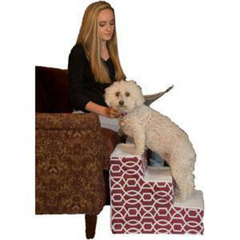 Pet Gear Trellis Print Designer Pet Steps-DOG-Pet Gear-Step III-DARK CRANBERRY-Pets Go Here furniture, stairs Pets Go Here, petsgohere