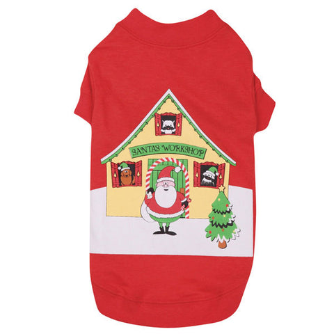 Casual Canine Santa's Workshop Dog Shirt-DOG-Casual Canine-SMALL-Pets Go Here casual canine, dog clothes, holiday, l, m, m/l, s, s/m, seasonal, xl, xs Pets Go Here, petsgohere