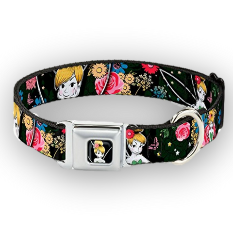 Buckle Down Disney Tinkerbell BLACK Floral Dog Collar-DOG-Buckle Down-LARGE-Pets Go Here black, buckle down, cartoon, character, collar, disney, dog, dog collar, fashionable, l, m, movie, new, nylon, pet collar, s, seatbelt, trendy, tv show, xl, xs Pets Go Here, petsgohere