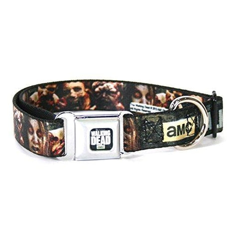 Buckle Down The Walking Dead Zombie Faces Dog Collar-DOG-Buckle Down-SMALL-Pets Go Here buckle down, cartoon, character, collar, dog collar, fashionable, l, m, movie, new, nylon, pet collar, s, seatbelt, trendy, tv show, xl, xs Pets Go Here, petsgohere