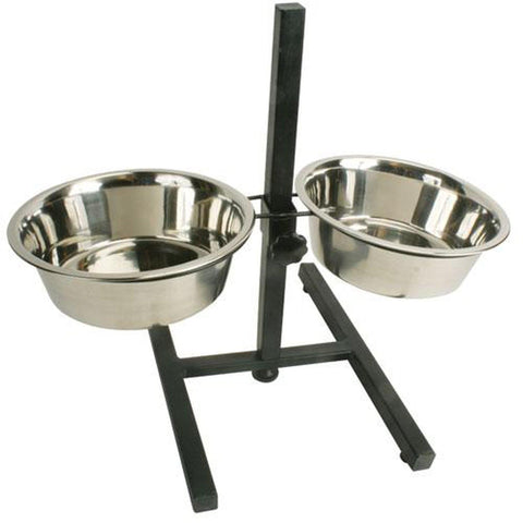 Proselect Dog Bowl Stand Adjustable METALLIC BLACK-DOG-Pets Go Here-Pets Go Here adjustable, adult, black, bowl, dog, dog bowl, senior Pets Go Here, petsgohere
