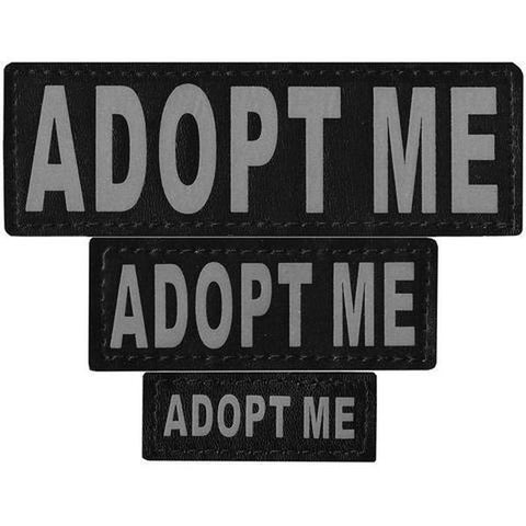 "Dogline Service Dog Patch ""ADOPT ME""-DOG-Dogline-L/XL-Pets Go Here dog training, dogline, hunting, patch, reflective, removable, rescue, safety, service dog, training, velcro, white Pets Go Here, petsgohere"