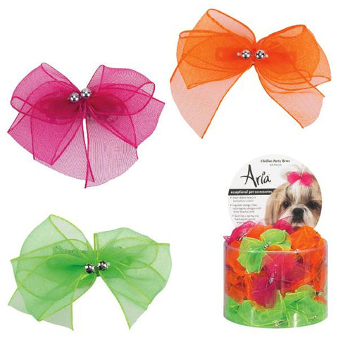 Aria Chiffon Party Dog Bow-DOG-Aria-CANISTER-Pets Go Here accessories, aria, barrette, bows, canister, green, lime, lime green, orange Pets Go Here, petsgohere